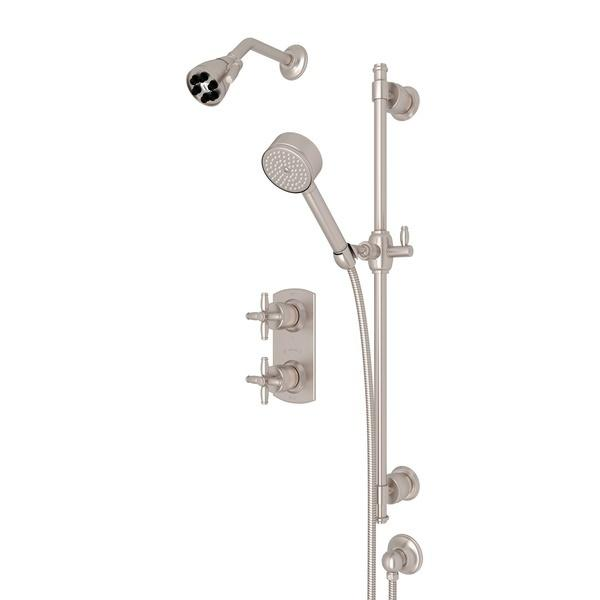 Satin Nickel ZEPHYR THERMOSTATIC SHOWER PACKAGE with Cross Handle Zephyr Series Only