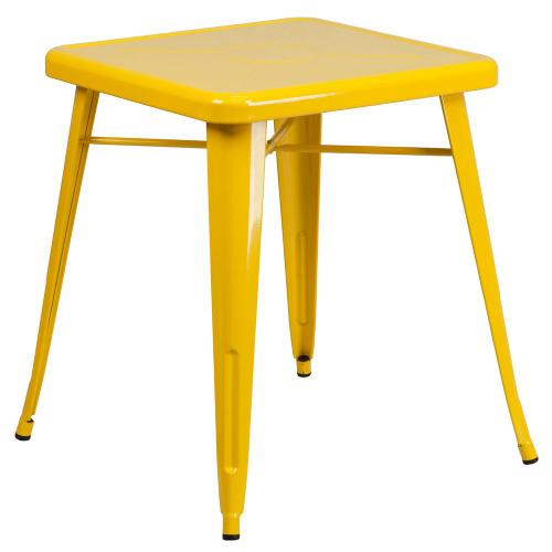 Alamont Furniture - 23.75'' Square Yellow Metal Indoor-Outdoor Table