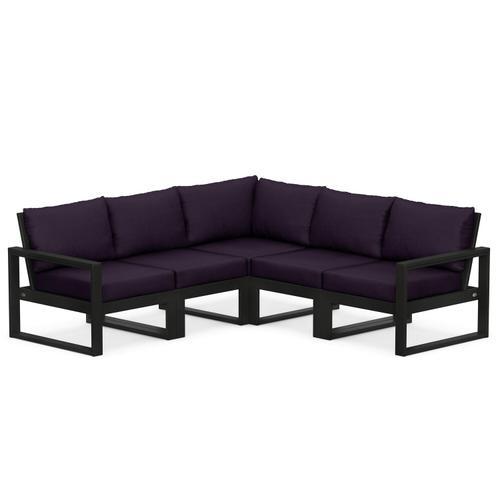 Polywood Furnishings - EDGE 5-Piece Modular Deep Seating Set in Black / Navy Linen