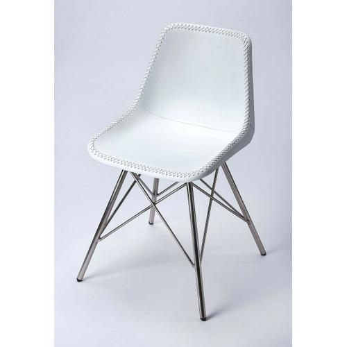 Butler Specialty Company - Mid-century modern with a contemporary twist: this go-everywhere molded chair form gets an upgrade to first class with a white stitched leather cover and sturdy nickel finish iron frame. Think home office; dining room or dorm!