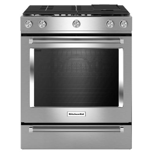 30-Inch 5 Burner Gas Convection Slide-In Range with Baking Drawer Stainless Steel