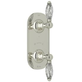 1/2 Inch Thermostatic and Diverter Control Trim - Polished Nickel with Crystal Metal Lever Handle