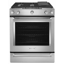 See Details - 30-Inch 5 Burner Gas Convection Slide-In Range with Baking Drawer - Stainless Steel