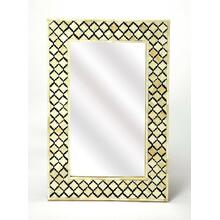 This magnificent Wall Mirror features sophisticated artistry and consummate craftsmanship. The gemoteric patterns covering the piece are created from white bone inlays cut and individually applied in a sea of black by the hands of a skillful artisan. hang