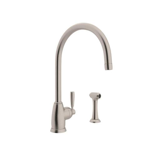 Holborn Single Hole Kitchen Faucet with C Spout and Sidespray - Satin Nickel with Metal Lever Handle