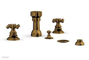 HENRI Four Hole Bidet Set - Cross Handles 161-60 - French Brass Product Image