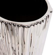 View Product - Metallic Silver Ribbed Ceramic Vase