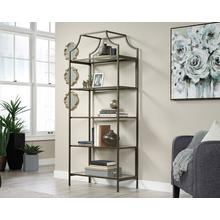 5-Shelf Metal & Glass Display Bookcase