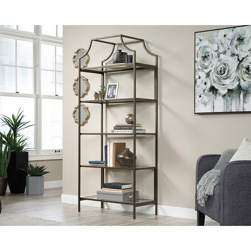 5-Shelf Metal & Glass Display Bookcase