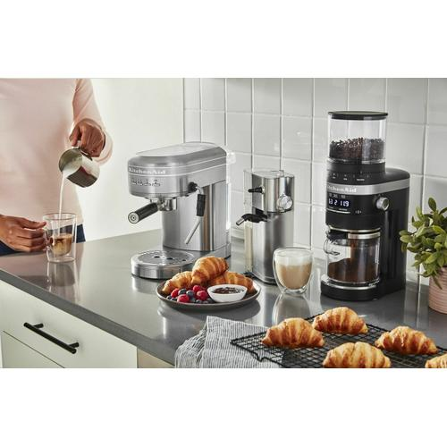 Gallery - Metal Semi-Automatic Espresso Machine and Automatic Milk Frother Attachment Bundle - Brushed Stainless Steel
