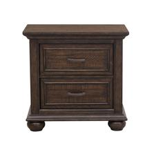 See Details - Paneled Wooden 2 Drawer Nightstand