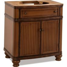 "30"" Walnut vanity base with Antique Brushed Satin Brass hardware, bead board doors, and curved front"
