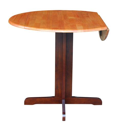 Gallery - Round Dropleaf Pedestal Table in Cinnamon & Espresso