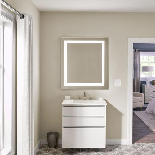 "Cartesian 30-1/8"" X 7-1/2"" X 18-3/4"" Vanity In Satin White With Slow-close Tip Out Drawer and Night Light In 5000k Temperature (cool Lighting); Vanity Top and Side Kits Not Included"