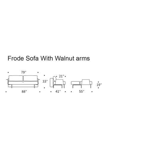"FRODE SOFA, DARK WOOD, 55""X79""/RECAST PLUS ARM RESTS, WOOD, 1 SET"