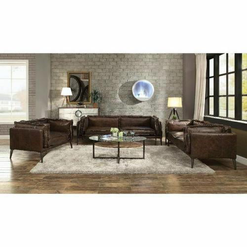 ACME Porchester Sofa - 52480 - Distress Chocolate Top Grain Leather