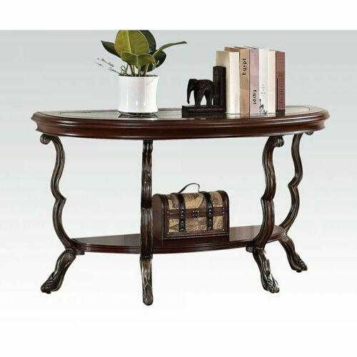 Acme Furniture Inc - ACME Bavol Sofa Table - 80122 - Cherry - Brown & Clear Glass