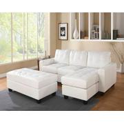 ACME Lyssa Sectional Sofa w/Ottoman - 51210 - White Bonded Leather Match Product Image