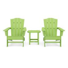 View Product - Wave 3-Piece Adirondack Chair Set with The Crest Chairs in Vintage Lime