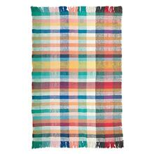 Product Image - 4' x 6' Cotton Blend Woven Madras Plaid Dhurrie Rug w/ Fringe, Multi Color