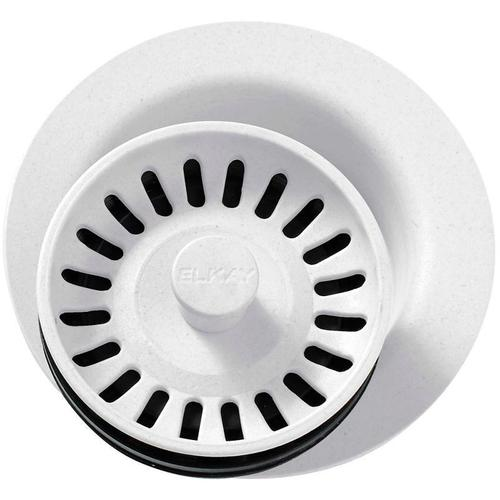 """Elkay - Elkay Polymer 3-1/2"""" Disposer Flange with Removable Basket Strainer and Rubber Stopper White"""