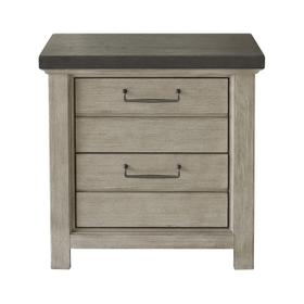 2 Drawer USB Charging Nightstand in Farmhouse Grey