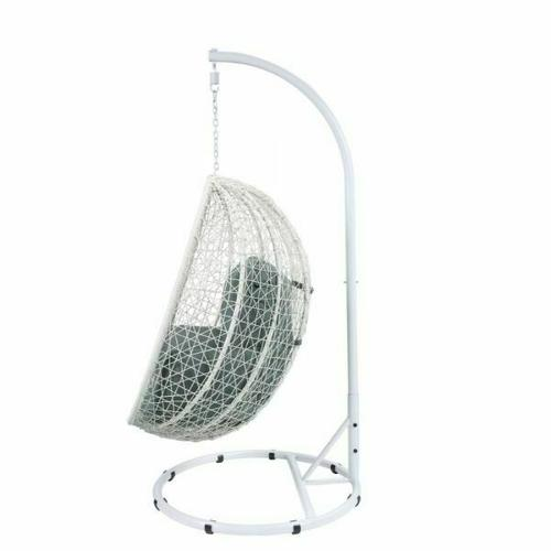 ACME Simona Patio Swing Chair with Stand - 45032 - Green Fabric & White Wicker