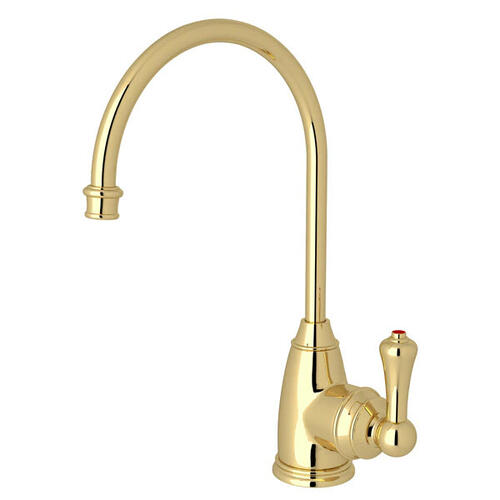 Georgian Era C-Spout Hot Water Faucet - Unlacquered Brass with Metal Lever Handle