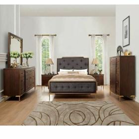 ACME Eschenbach Queen Bed - 25960Q - Charcoal Fabric & Cherry