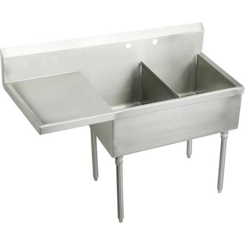"""Elkay Weldbilt Stainless Steel 61-1/2"""" x 27-1/2"""" x 14"""" Floor Mount, Double Compartment Scullery Sink with Drainboard"""