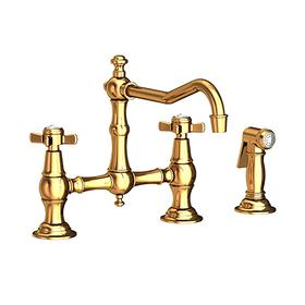 Polished Gold - PVD Kitchen Bridge Faucet with Side Spray