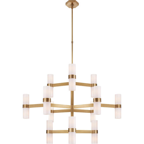 AERIN Margita 24 Light 45 inch Hand-Rubbed Antique Brass Chandelier Ceiling Light in White Glass, Medium