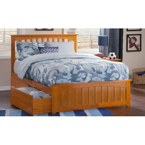 Mission Full Bed with Matching Foot Board with 2 Urban Bed Drawers in Caramel Latte