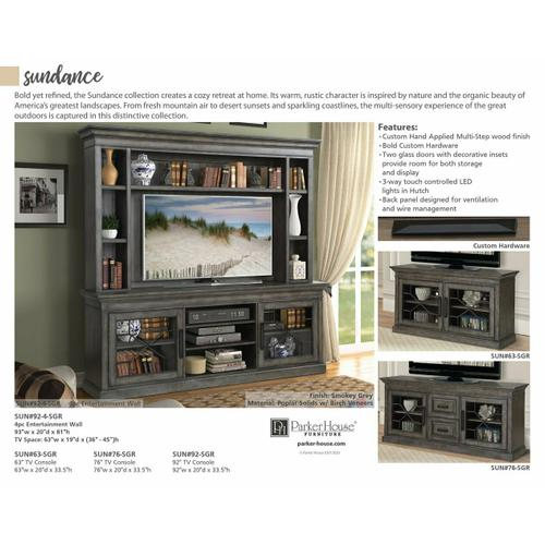 SUNDANCE - SMOKEY GREY 92 in. Console with Hutch
