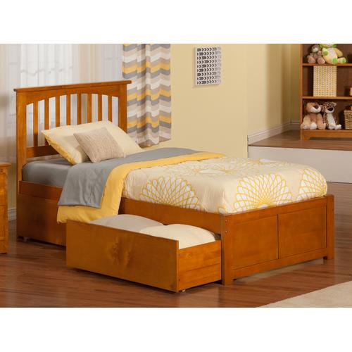 Atlantic Furniture - Mission Twin Flat Panel Foot Board with 2 Urban Bed Drawers Caramel Latte