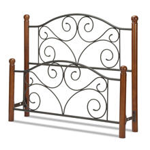Doral Metal Headboard and Footboard Bed Panels with Decorative Scrollwork and Walnut Colored Wood Finial Posts, Matte Black Finish, Queen