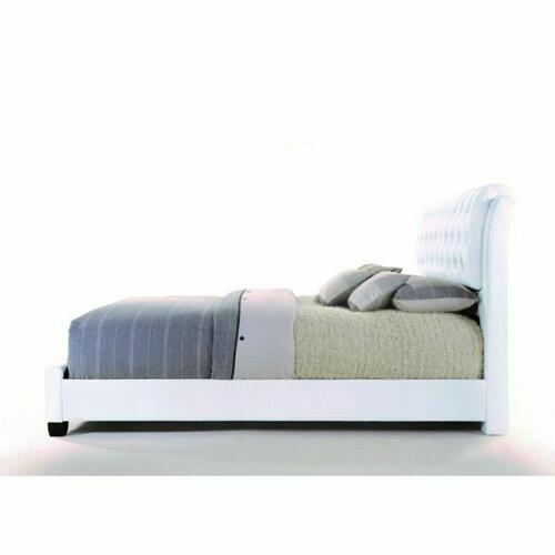 ACME Ireland II Eastern King Bed (Button Tufted) - 25347EK - White PU