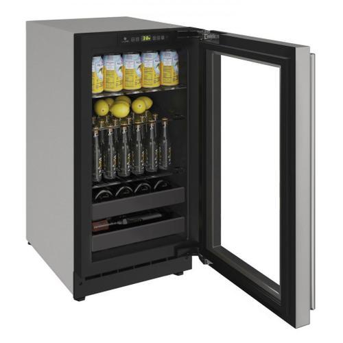 """2218bev 18"""" Beverage Center With Stainless Frame Finish and Left-hand Hinge Door Swing (115 V/60 Hz Volts /60 Hz Hz)"""