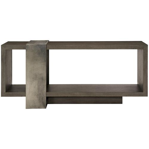 Linea Console Table in Textured Graphite Metal (384), Cerused Charcoal (384)