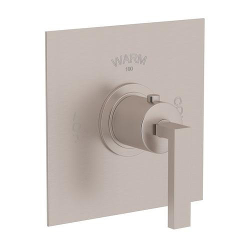 Satin Nickel Wave Thermostatic Trim Plate Without Volume Control with Wave Metal Lever