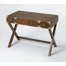 See Details - This timeless Campaign writing desk is an inspired addition in both traditional and contemporary spaces. Crafted from mango wood solids and wood products, it features a rich walnut finish accentuated with brass pull rings on each of three drawers and brass corner brackets.