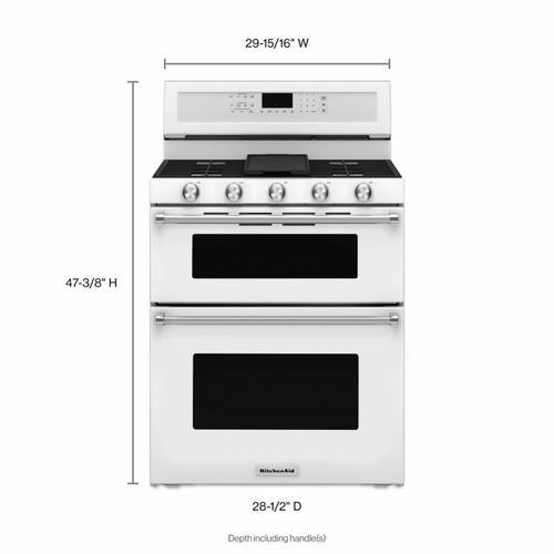 KitchenAid - 30-Inch 5 Burner Gas Double Oven Convection Range - White