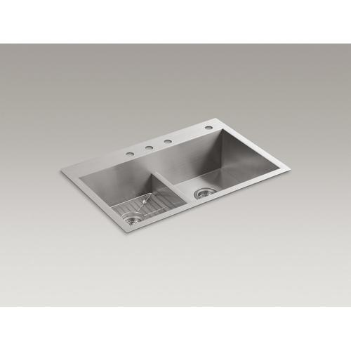 """33"""" X 22"""" X 9-5/16"""" Smart Divide Top-mount/undermount Double-equal Bowl Kitchen Sink With 4 Faucet Holes"""