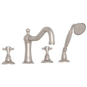 Satin Nickel Acqui 4-Hole Deck Mount Column Spout Tub Filler With Handshower with Cross Handle
