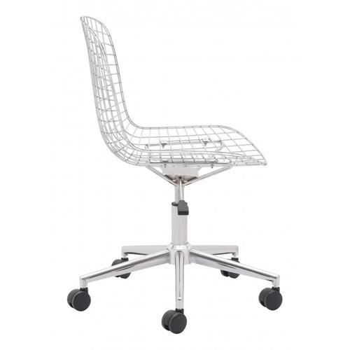 Zuo Modern - Wire Office Chair Chrome & White Cushion