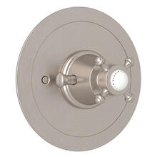 Georgian Era Round Thermostatic Trim Plate without Volume Control - Satin Nickel with Cross Handle