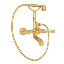 Palladian Exposed Tub Filler with Handshower - Italian Brass with Metal Lever Handle