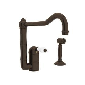 Acqui Single Hole Column Spout Kitchen Faucet with Sidespray and Extended Spout - Tuscan Brass with White Porcelain Lever Handle