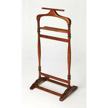 A perfect piece to organize and hang apparel, so you can ease in to your morning routine without a wrinkle, this Olive Ash Burl finished valet stand is practical and well-crafted. Made from select wood solids and choice veneers, the various racks allow you to hang pants, shirts, ties or jackets, bringing a helpful addition to a bedroom, closet or dressing area.