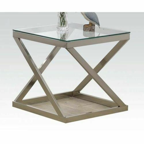 Acme Furniture Inc - ACME Ollie End Table - 81142 - Brushed Nickel & Clear Glass